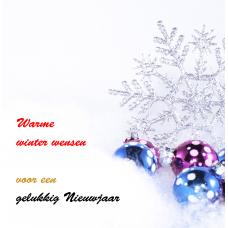 """Kerstkaart """"Kerstballen met sneeuwvlok"""""""