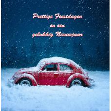 """Kerstkaart """"VW Kever in de sneeuw"""""""