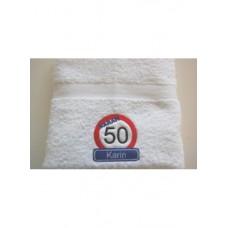 Handdoek Sarah 50 jaar verkeersbord